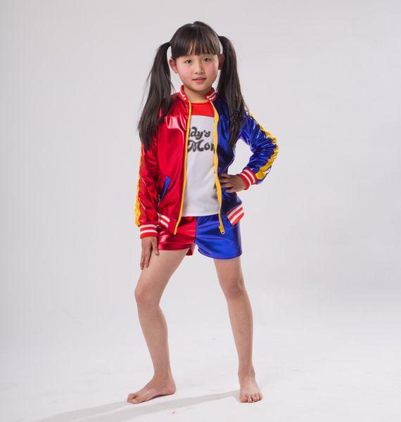 3 pcs meninas quentes Harley Quinn traje jaqueta T-shirt Tee monstro Lil Suicide esquadrão Cosplay Halloween Costume para crianças menina