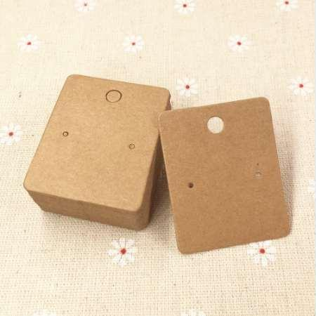 best selling 200pcs lot 5*4cm Kraft Paper Earring Cards Blank Jewelry Packing Cards Brown Earring Display Cards Jewelry Price Tags