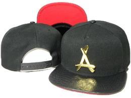 "New fashion black Tha Alumni Snapback metal gold ""A"" leather brim adjustable baseball caps bboy hip-hop hats for men and women"