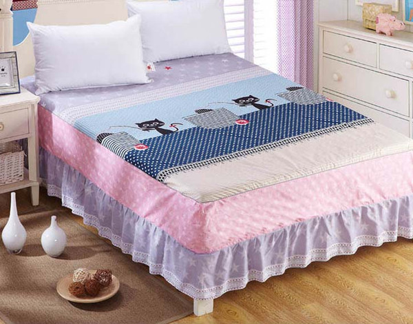 Cartoon, lattice, flower 100% Cotton elastic band bed skirt twin full queen king size bedspread Mattress cover Home Textiles