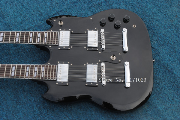 12 strings 1275 Double Neck Led Zeppeli Page Signed Aged black body 12 strings Electric guitar