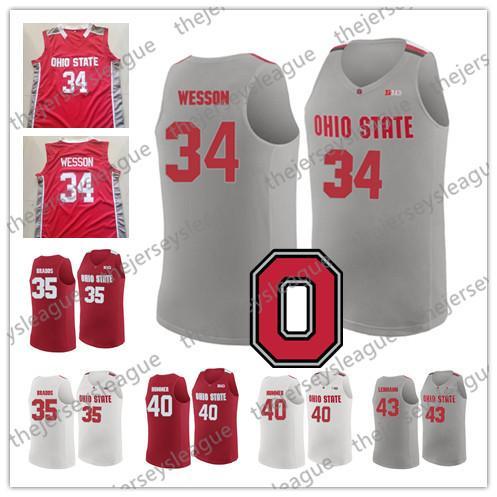 Ohio State Buckeyes #34 Kaleb Wesson 35 Gary Bradds 40 Daniel Hummer 43 Matt Lehmann White Grey Red Stitched NCAA College Basketball Jerseys