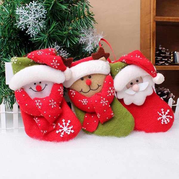 50Pcs /Lot Santa Claus Reindeer Snowman Design Gift Socks Bags X 'Mas Stocking Style Candy Holders Christmas Accessories