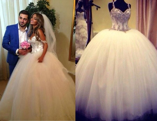 Luxury Beaded Crystals Ball Gown Wedding Dresses Sweet Floor Length Formal Off Shoulder Straps Ruched Puffy Skirt Bridal Wedding Gowns 82