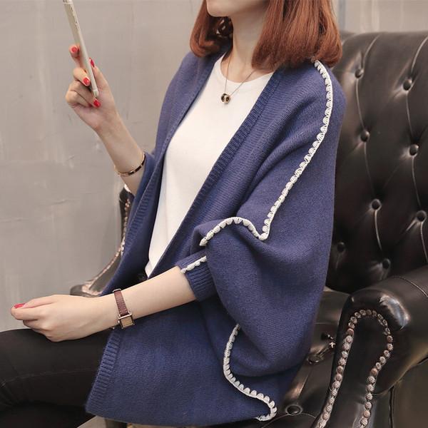 Nuevas rebecas Mujer 2018 Otoño e invierno Casual Rayas manga murciélago suéteres Cardigan Punto Poncho suelto Señoras puntada abierta
