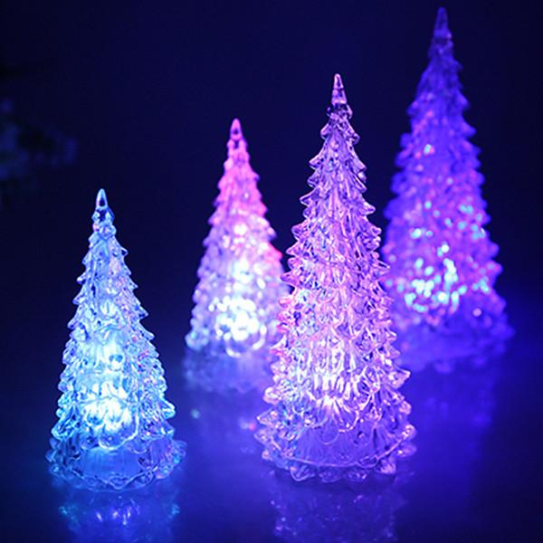 Manufacturer S Creative Colorful Led Mini Crystal Christmas Tree Simulation Desktop Lighting Acrylic Tree Flash Christmas Tree Lights Toys Led Gloves