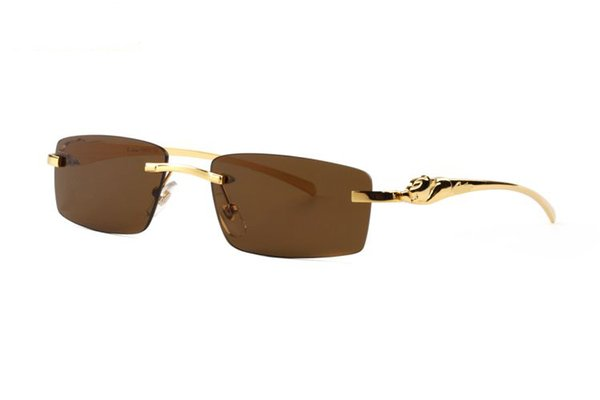 France Brand Buffalo sunglasses men plain mirror glasses gold leopard metal frame clear lens optical men sunglasses with original box case