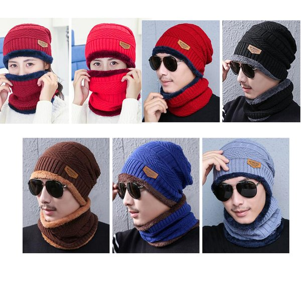 Hot Sale Mask hat with scarf Fashion Winter Spring Sports Beanies Casual Knitted Hip Hop hats free Shipping
