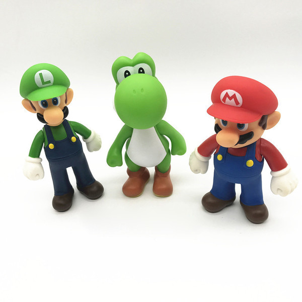 Hot 3 Style Super Mario Bros toy New Cartoon game Mario Luigi Yoshi Action Figure Super Mario PVC Gift Toys For Kids