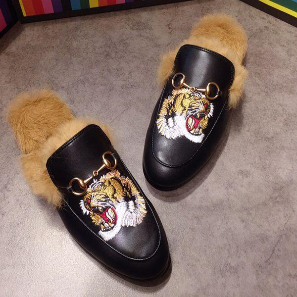 2018 princetown mocca in fur lipper mule flat luxury de igner fa hion loafer hor ebit flat ca ual hoe 40 47 w01