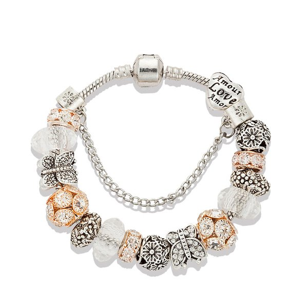 Fashion 925 Sterling Silver Plated butterfly Charms Bracelet Murano Glass&Crystal European Charm Beads for Pandora Bracelets Women gift
