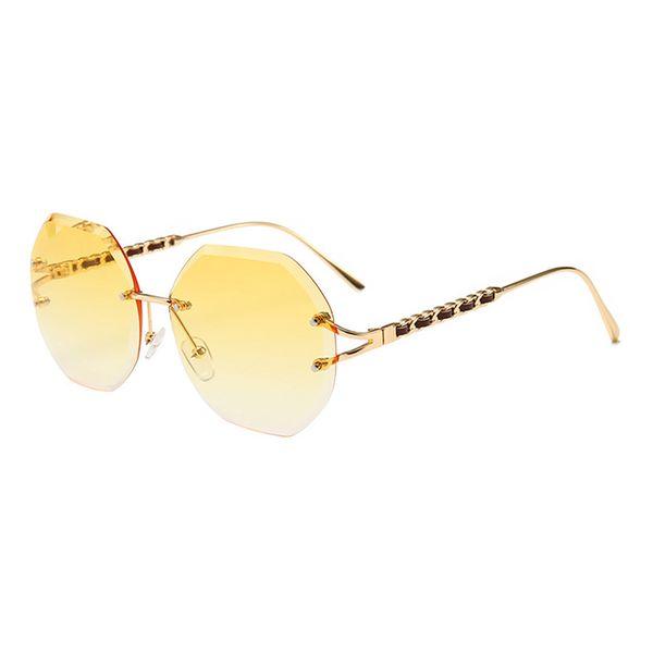 HOKU Fashion Polygonal Sunglasses Women Metal Frame Ocean Crystal Lens Ladies Luxury Sunglasses Brand Designer Vintage Shades