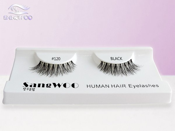 SANGWOO 2018 Premium kalite 100% gerçek İnsan saç yapımı yanlış şerit kirpik el yapımı yumuşak lashes toptan fiyat # 120