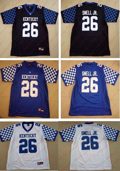 Cheap 2017-18 nuovo 26 # Benny Snell Jr. Jersey Kentucky Wildcats College nero bianco blu Mens camicia cuciture taglia XS-6XL maglie da calcio