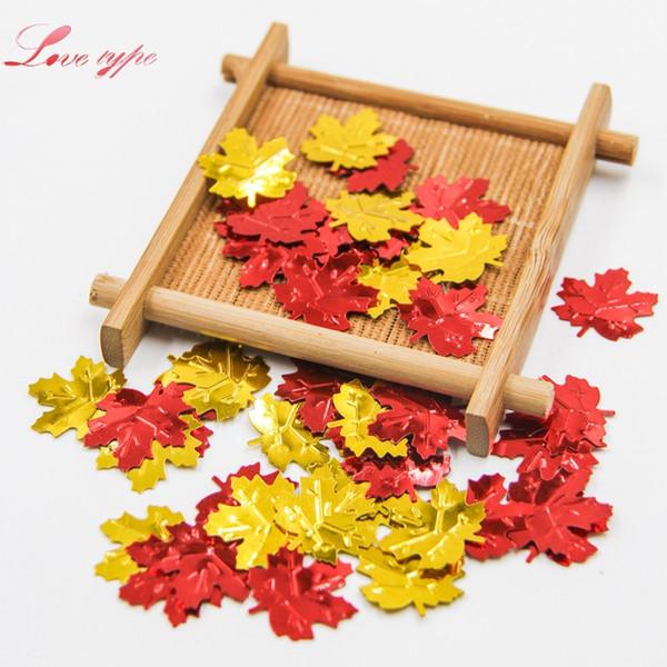180 PCS / Lot bricolage rouge / or feuilles d'automne forme confettis pour la maison de mariage table de mariage décoration d'événement partie fournitures