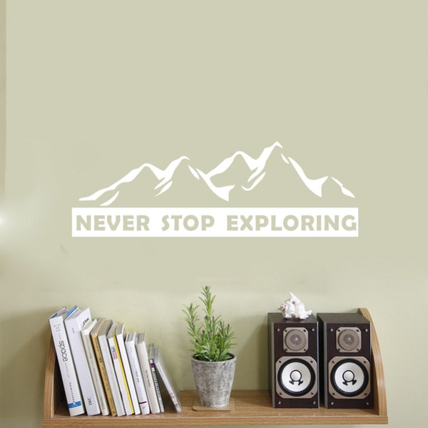 Never Stop Exploring Motivational Quote Wall Sticker Vinyl Lettering Wall Decals Kids Room Decor