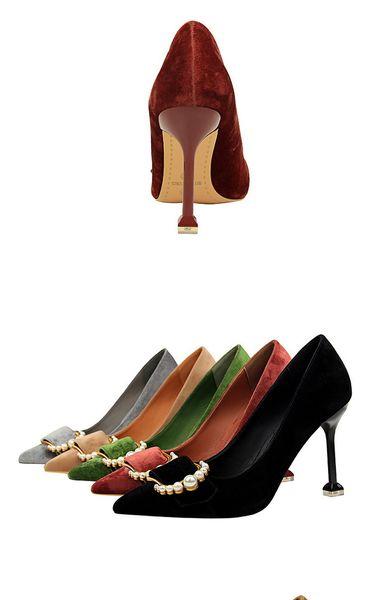 2018 Gerçek Siyah Kırmızı Toptan Marka Yeni Moda Inci Toka Tek Ayakkabı Yüksek Kalite Süet Kadın Elbise 9.5 cm Stiletto Topuk 278-2 Pompalar