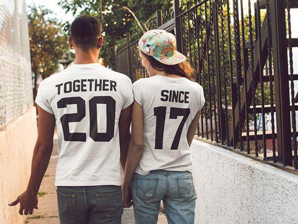 Insieme Da T-Shirt Honeymoon Casual Tee Coppie Camicie da abbinare a T per coppie Tops 2017 Magliette unisex Hipster Outfits