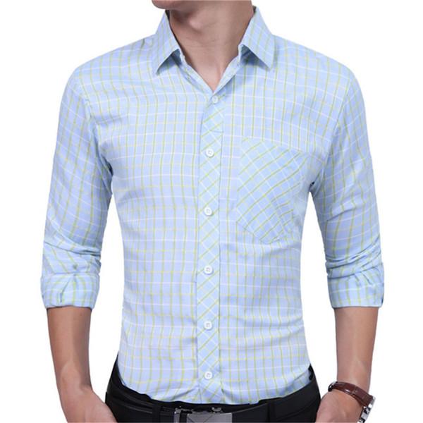 Business Man Casual Plaid Shirt Korean Style 2XL Slim Boy Blusa Tide Club Boys Plaids Print Tops 2018 Spring Hot Sale Men Shirts
