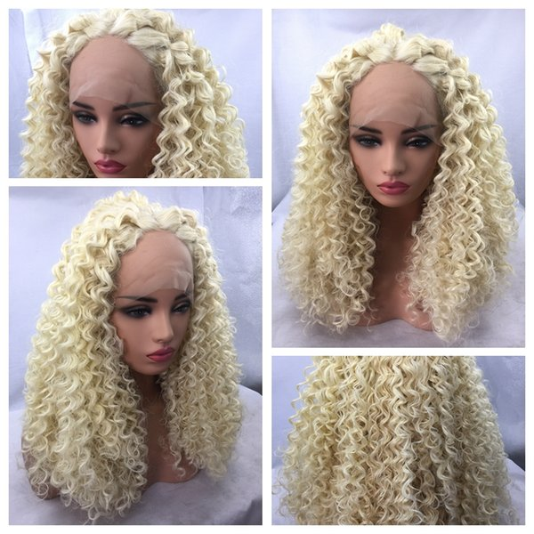 Wholesale Hot Sexy Blonde 613# Long Kinky Curly Africa American Wigs Heat Resistant Glueless Synthetic Lace Front Wigs for Black Women