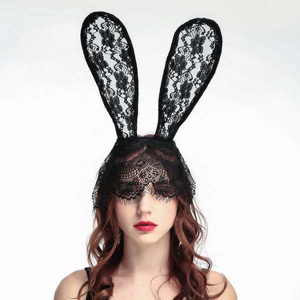 Venda direta do fabricante de alta qualidade rendas orelhas de coelho faixa de cabelo preto máscara de festa de dança foto cocar