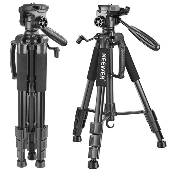 wholesale Portable 142 cm Aluminum Camera Tripod with 3-Way Swivel Pan Head,Bag for DSLR Camera,DV Video Camcorder Load up to 4kg