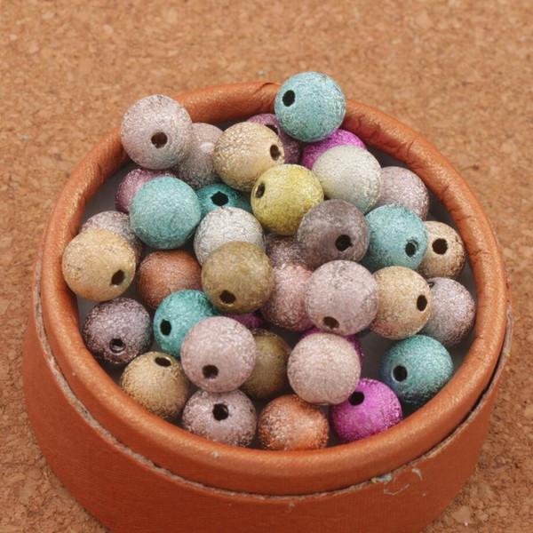 800 Teilelos Mixed Bunte Stardust Runde Perlen 8mm Heißer verkauf Acryl AUF LAGER Acryl, kunststoff, Lucite Lose Perlen L3042