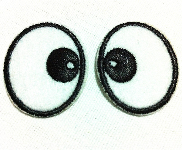 Wholesales~10 Pairs Cartoon Round Eyes Eyeball (2.5 x 3 cm) Embroidered Iron on Applique Patch (AL) Custom Made