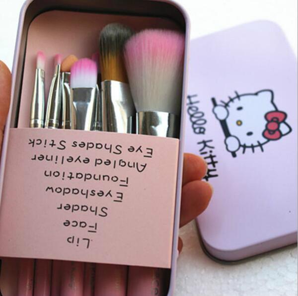 2019 neueste Schwarz Hallo Kitty 7 Stücke Make-Up Pinsel Set Mini Größe Professionelle Gesichtskosmetik Make-Up Pinsel Set Mit Metall Box
