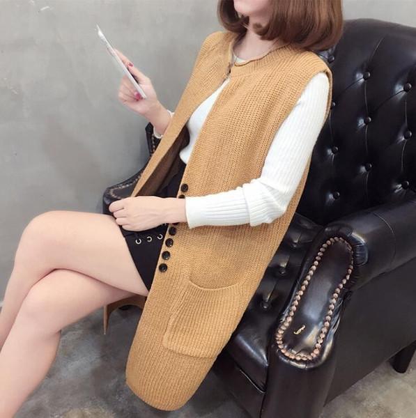 #0729 Sleeveless Long Knitted Vest Female Loose Coat Cardigan Sweater Women Single Button Waistcoat Fashion Slim Fit Veste Femme