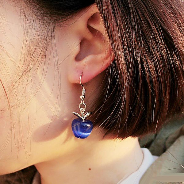 Sweet Pink Opal Stone Apple Forma Charm Statement Pendientes para mujeres Girl Lovely Cute Stud Moda Earings Jewelry Lover Gifts Wholesale