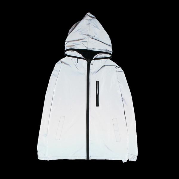 Yeni 3 m tam yansıtıcı ceket erkekler / kadınlar harajuku rüzgarlık ceketler kapşonlu hip-hop streetwear gece parlak palto 3 m ceket