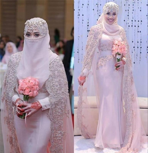 Gorgeous Muslim hijab Wedding Dresses With Wraps 2018 High Neck Lace Applique Long Sleeves Mermaid Pink Arabic Bridal Gowns