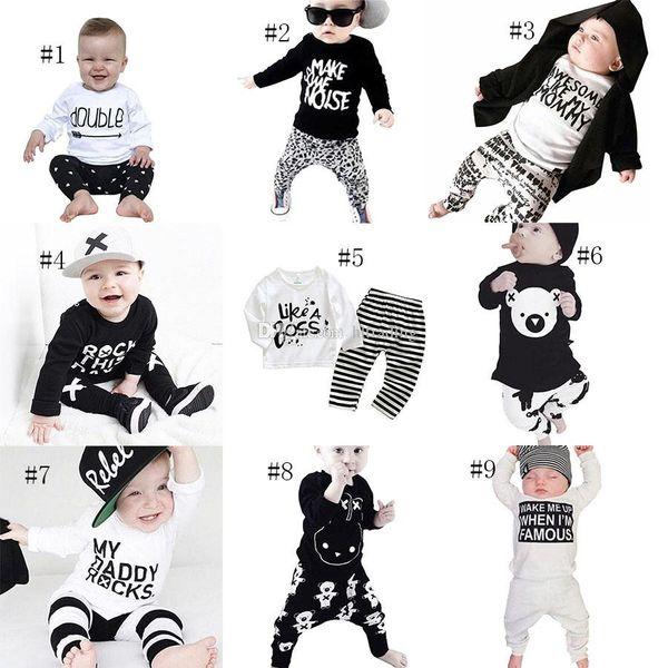 INS meninos Meninos carta roupas crianças imprimir top + Listrado Leopardo urso calças 2 pçs / set 2018 Outono Boutique crianças Conjuntos de Roupas 9 estilos C4254