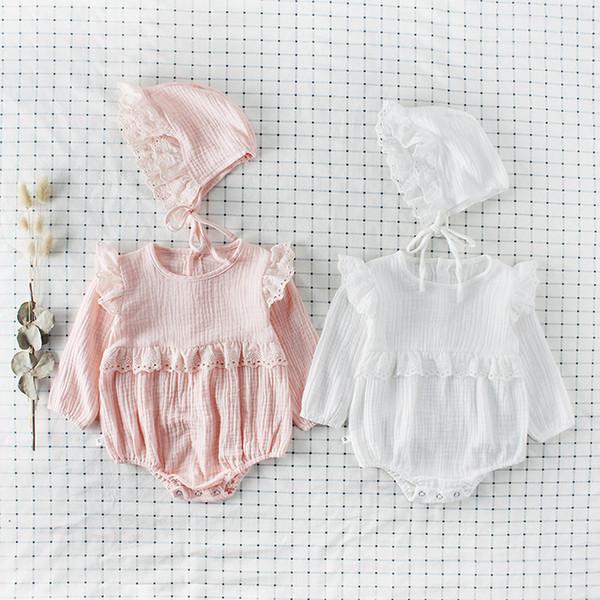 2018 novas meninas versão coreana do bebê onesies algodão rendas de babados de manga comprida romper meninas roupas com chapéu