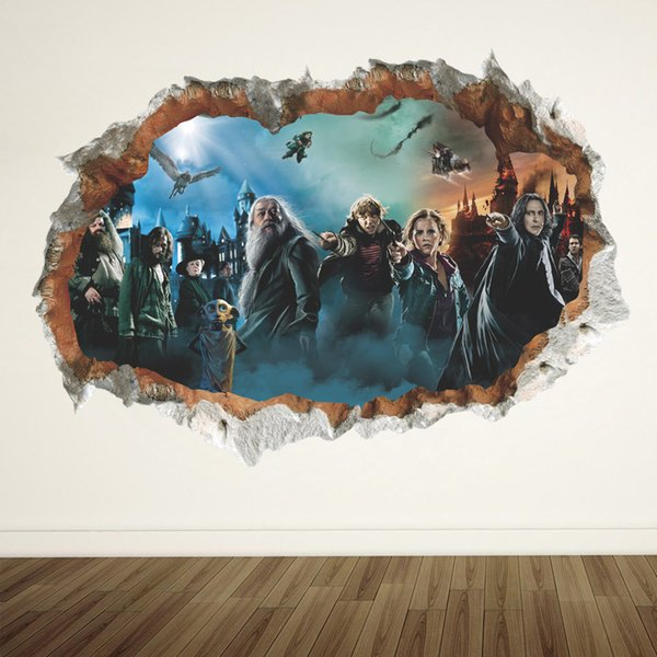 Großhandel Harry Potter 3d Wandtattoos Pvc Gebrochene Wand Kreative Hogwarts Albus Dumbledore Wandaufkleber Wandbilder Für Wohnzimmer Und Kinderzimmer