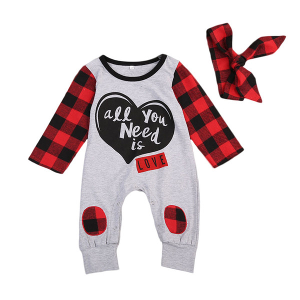 top popular Infant baby girl plaid romper pajamas jumpsuit with headband 2pcs set outfit long sleeves letter print comfy bodysuit cute baby kid clothing 2020