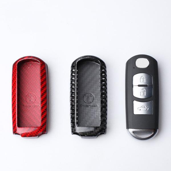 Real Carbon Fiber Car Remote Key Case Cover For Mazda 2 3 6 Axela Atenza CX-5 CX5 CX-7 CX-9 2015 2016 2017 Smart 2/3 Buttons