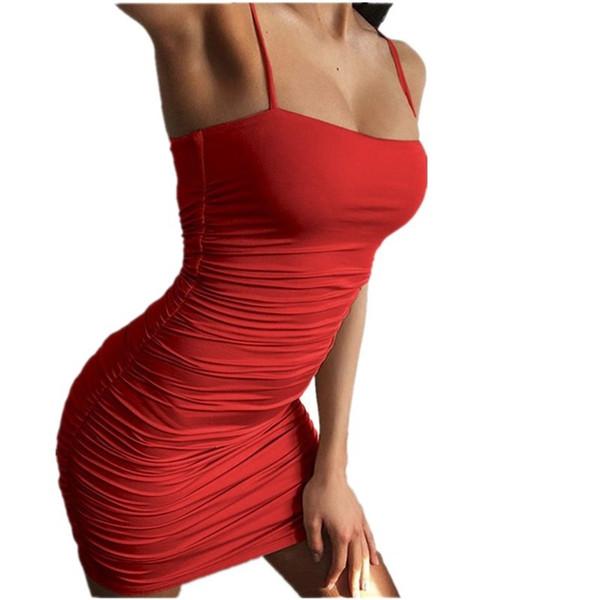 Buena calidad Vestido para mujer Verano 2019 Correas atractivas Pliegues Paquete delgado Vestido de pecho envuelto en la cadera Mujeres Mini vendaje Vestido de verano negro