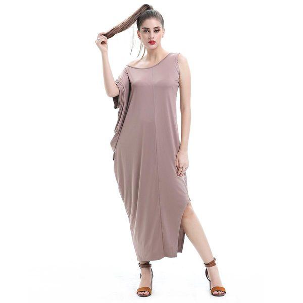 Big Size Women's Clothing New Irregular High Milk Silk Stretch Temperament Pure Color Long Dress