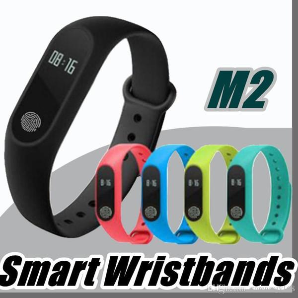 2018 M2 Fitness Tracker Uhrenarmband Pulsmesser Wasserdicht Activity Tracker Smart Armband Schrittzähler Anruf erinnern Gesundheit Armband A-SH