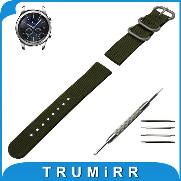 Vente en gros - Bande de montre en nylon de 22 mm pour Samsung Gear S3 Classique / Frontière Zulu Bracelet en tissu Wrist Belt Bracelet Noir Gris Bleu Marron Vert