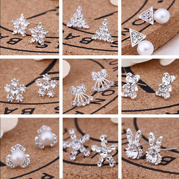 62pairs/Lot, 45 styles Korean Creative Fashion diamond earrings New Pearl Stud Earrings Hot selling accessories jewelry wholesale earrings