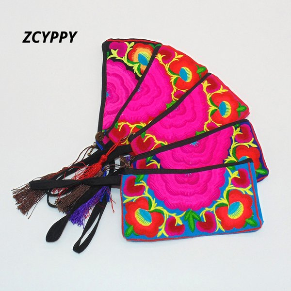 Lady Fresh Embroidered Purse Handmade Ethnic Embroidery Women Long Wallet Clutch HandBag