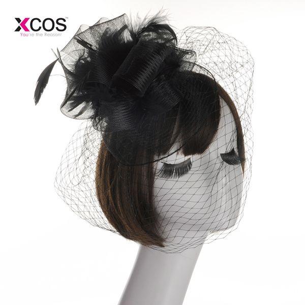 wholesale Bridal Net Feather Hats White Ivory Red Black Birdcage Net Wedding Hats Bridal Fascinator Face Veils Bride Hats