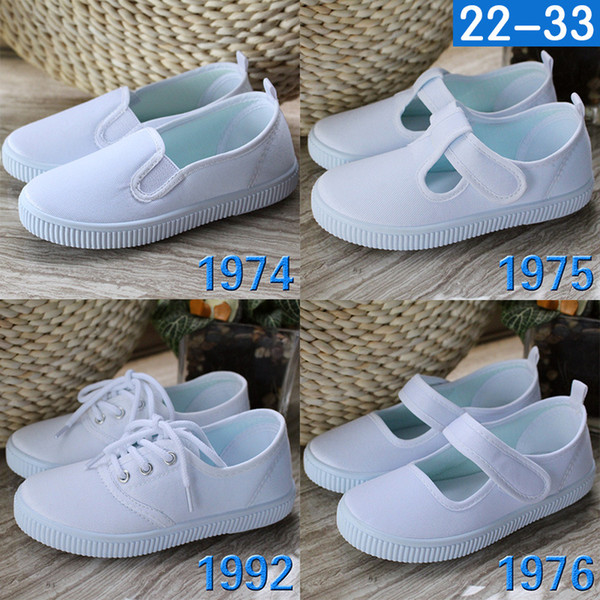 4 Style Children's Male and Female Canvas White Cloth Shoes Sports Gymnastic Children's Performance Shoes SH002