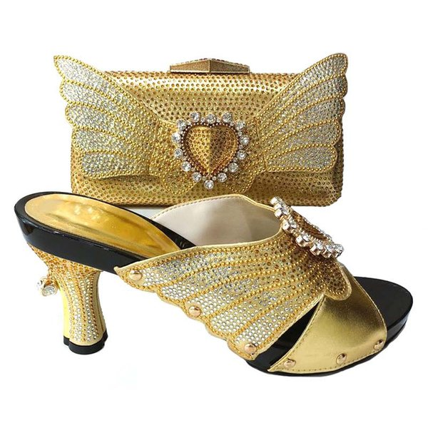 Nice Looking African Women Matching Italian Shoe and Bag Set Italian Shoe with Matching Bag for Wedding Lady Gold Evening Party
