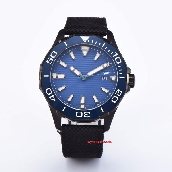 new arrive 45mm planca blue dial Sapphire glass Ceramic bezel black PVD case miyota 8215 automatic mens watch