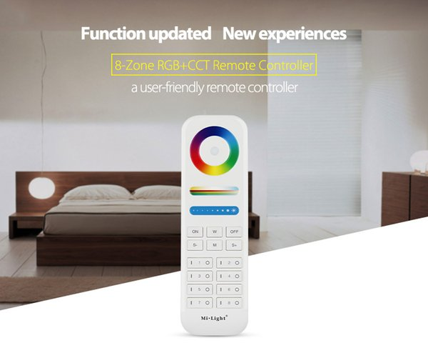 Mi Light 2.4G wireless 8 Zone RF dimmer FUT089 remote B8 Touch Panel Wall-mounted rgbww LS2 5 in 1 led controller for RGB+CCT