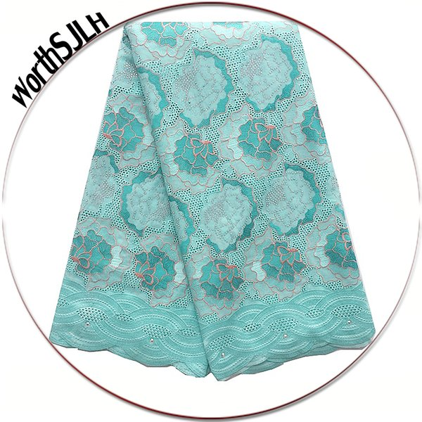 Best Selling 2018 Products Cotton African Lace Fabric Aqua Cream African Swiss Voile Lace Dubai Latest Lace Fabric With Stones